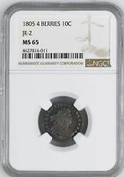 1805 DRAPED BUST 10C NGC MINT STATE 65