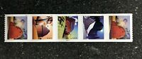 2021USA 5550 5553 POSTCARD FOREVER RATE BARNS   PNC COIL STRIP OF 5  B11111