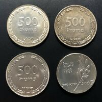 ISRAEL 1949 500 PRUTA  3X  AND 1961 5 LIROT SILVER COINS