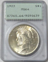 1923 US PEACE SILVER DOLLAR $1 COIN PCGS MS 64 RATTLER HOLDE