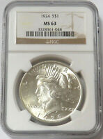 1924 US SILVER PEACE DOLLAR $1 COIN NGC MINT STATE 63 MS 63