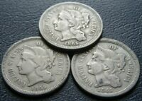 LOT  3  1865 CIVIL WAR 3C COINS NICKEL THREE CENT PIECES OLD