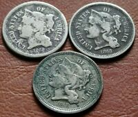 LOT  3  1868 NICKEL THREE CENT PIECE COINS OLD AMERICAN 3C M