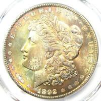 1892 MORGAN SILVER DOLLAR $1 COIN 1892-P - CERTIFIED PCGS MINT STATE 65 - $2,600 VALUE