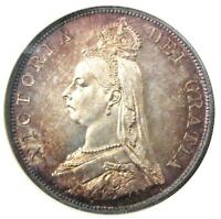 1887 GREAT BRITAIN ENGLAND VICTORIA DOUBLE FLORIN 4S COIN   NGC MS63  BU UNC