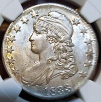 WOW MS 62 1833 CAPPED BUST HALF DOLLAR NGC  NICE LOOKING COI