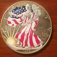 1999 AMERICAN SILVER EAGLE $1 COIN COLORIZED ONE OUNCE 1 OZ