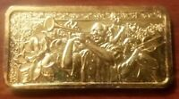 NEW ORLEANS FRENCH QUARTER 1 OUNCE SILVER BAR .999 ELECTRO GOLD PLATED 1 OZ. ART