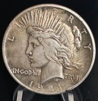 1921 HIGH RELIEF PEACE SILVER S$1 ONE DOLLAR COIN   KEY DATE