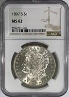 1897-S $1 MORGAN SILVER DOLLAR COIN NGC MINT STATE 62