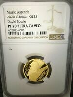 2020 G.BRITAIN DAVID BOWIE MUSIC LEGENDS  25 GOLD PROOF COIN