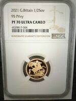 2021 G.BRITAIN 95 PRIVY 1/2SOV GOLD PROOF COIN. NGC PF 70 UL