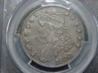 1830 PCGS CERT XF 45 CAPPED BUST HALF DOLLAR LARGE 0 VARIETY