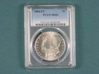 1884 CC MORGAN SILVER DOLLAR PCG MINT STATE 63 SPIKED DATE PINNED WING VAM 4 MIRROR FIELD