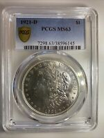 1921 D MORGAN DOLLAR $1 MS63  90  SILVER