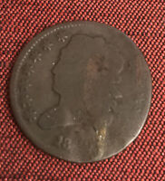 HALF CENT 1829 UNITED STATES DAMAGE ON DATE.