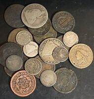 LOT OF 23 LOW GRADE TYPE SILVER DIMES LARGE CENT HALF DOLLAR