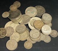 LOT OF MIXED SILVER FOREIGN COIN COLLECTION   7.70 OZT LARGE
