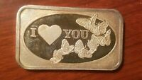 1992 I LOVE YOU VALENTINE'S DAY 1 OUNCE SILVER BAR .999 FINE 1 OZ. BUTTERFLIES
