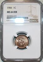 NGC MS 64 RB 1906 INDIAN HEAD CENT BLAZING RED BROWN SPECIME