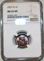 NGC MS 65 RB 1927 D LINCOLN CENT BEAUTIFUL RED BROWN GEM.