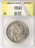 1883-S $1 MORGAN DOLLAR ANACS AU50 DETAILS CLEANED