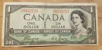 1954 CANADA $1 DEVIL'S FACE NOTE COYNE TOWERS  F/A 8152721 BC 29A FINE VF