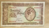 1943 LUXEMBOURG 20 FRANCS WORLD WAR TWO RELIC WWII BANKNOTE NOTE P 42 FINE