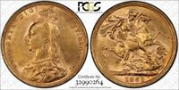 GREAT BRITAIN VICTORIA GOLD SOVEREIGN 1889  PCGS AU58