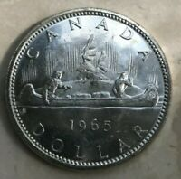 1965 CANADA SILVER DOLLAR   MAY HAVE HAZING   GRADE RANGES FROM AU  TO UNC