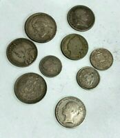 LOT OF 9 WORLD SILVER COINS CANADA GERMANY MEXICO FRANCE MOR