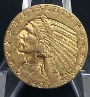 1909 D GOLD INDIAN HEAD FIVE DOLLARS $5 HALF EAGLE COIN
