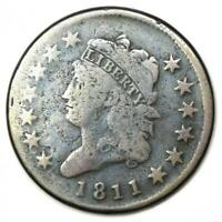 1811 CLASSIC LIBERTY HEAD LARGE CENT 1C - FINE DETAILS -  DATE COIN