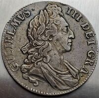 1 CROWN 1695 LAUREATE WILLIAM III 1ST BUST GREAT BRITAIN TOP