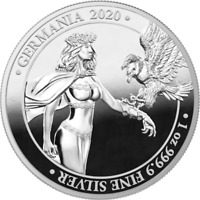 GERMANIA 2020 5 MARK   GERMANIA PROOF   1 OZ 999.9 SILVER PR