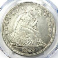 1843 SEATED LIBERTY SILVER DOLLAR $1 - PCGS AU DETAILS -  EARLY COIN