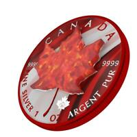 CANADA 2020 5$   MAPLE LEAF   RED OPAL   1 OZ SILVER COIN WI