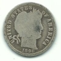 A VINTAGE GOOD CONDITION 1898 P BARBER SILVER DIME COIN-OLD US COIN-AGT200
