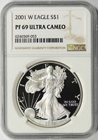2001-W $1 PROOF AMERICAN SILVER EAGLE NGC PF69UCAM