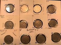 12 BETTER DATE 1924 D 1926 D & S  29& 30 S BUFFALO  5 CENTS COIN  NICKEL 4SELL