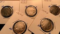 1918 D 1924 S 1926 D 1927 S & 1934D BUFFALO NICKELS  US 5 CENTS COIN  4SELL
