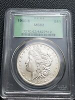 1900 S MORGAN SILVER DOLLAR  PCGS MINT STATE 62 SAN FRANCISCO CERTIFIED