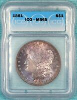 1881-P MINT STATE 65 MORGAN SILVER DOLLAR UNCIRCULATED UNC  LOT 2