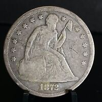 1872 SEATED LIBERTY SILVER S$1 ONE DOLLAR COIN