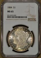 1884 $1 MORGAN SILVER DOLLAR NGC MINT STATE 65