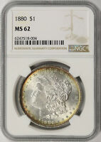 1880 $1 MORGAN DOLLAR NGC MINT STATE 62