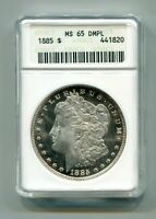 1885 MORGAN SILVER DOLLAR ANACS MINT STATE 65 DMPL  ORIGINAL COIN FROM BOBS COINS
