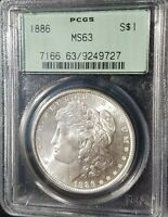 1886 P MORGAN SILVER DOLLAR PCGS MINT STATE 63 $1