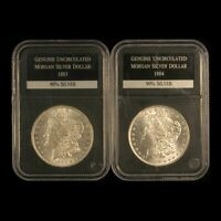 1883-O & 1884-O $1 MORGAN SILVER DOLLAR PAIR IN HOLDERS - SHIPS FREE USA