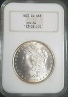 1878-CC MORGAN SILVER DOLLAR NGC MINT STATE 64 $1 GOLD AND BLUE TONING TONE VAM 4 OR 5